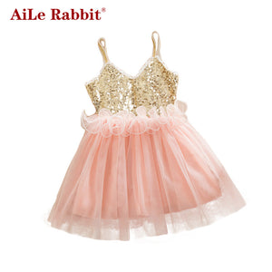 Kids Girls Dress Children Dress Summer European And American Girls Sequin Dress-iuly.com