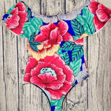 Floral Off Shoulder Swimwear One Piece Swimsuit Ruffle Female Bathing Suit Women-iuly.com