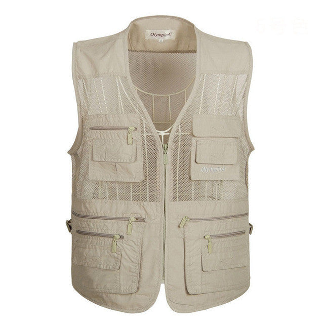 Men'S Mesh Summer Vest Casual Solid Waistcoat Five Colors With Many Pockets-iuly.com