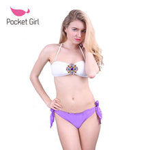 Load image into Gallery viewer, Pocket Girl Women Crystal Rhinestone Push Up Swimwear Halter Bikini Be-iuly.com
