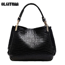 Load image into Gallery viewer, Alligator Pu Leather Women Handbag Women Famous Shoulder 3 Color Bags Black-iuly.com