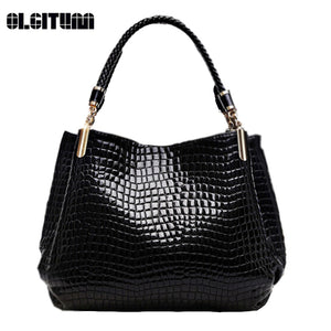 Alligator Pu Leather Women Handbag Women Famous Shoulder 3 Color Bags Black-iuly.com