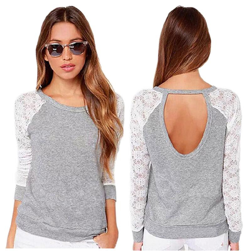 T Shirt Women Long Sleeve Lace Crochet T-Shirt Embroidery Slim C-iuly.com