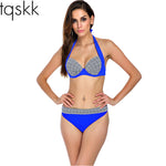 Bikinis Women Swimwear Halter Top Retro Vintage Brazillian Bikini Set Bathing-iuly.com