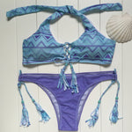 Bandage Printing Bikini Set Padding Push Up Beachwear Low Waist Thong Bikinis-iuly.com