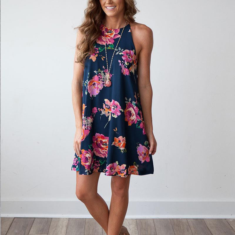 Women Summer Dress Spaghetti Strap Floral Printed Sleeveless Sexy Mini Casual-iuly.com