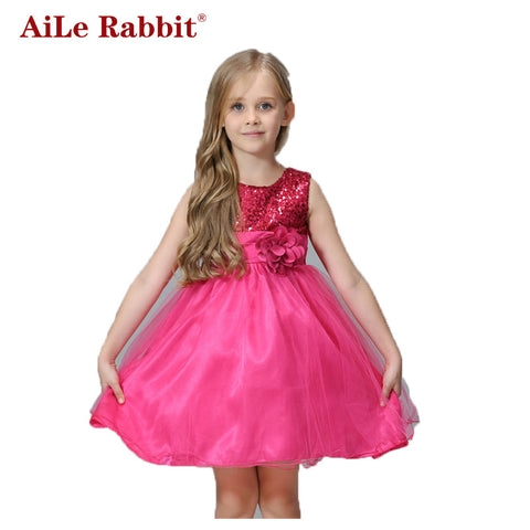 Summer Girls Christmas Cute Dress Sequined Mesh Girl Clothing Flower Belt Princess-iuly.com