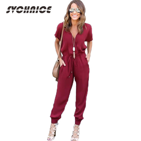 Spring Summer Jumpsuit Rompers Womens Jumpsuit Long Pants Adjust Waist-iuly.com