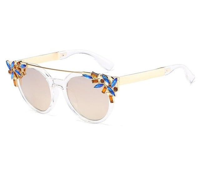Luxury Women Sunglasses Jewelry Flower Rhinestone Decoration Sun Glasses Vi-iuly.com