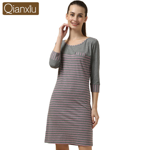 Rushed Pyjamas Women Qianxiu Lingerie Casual Nightgown Long-Sleeve Nig-iuly.com