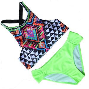 Neck Low Waist Print Color Women Bikini Set Padded Design Sports Bathi-iuly.com