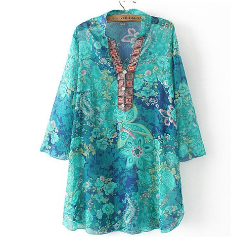 5Xl Plus Size Women Blouses Summer Embroidery Print Women Vestidos Chi-iuly.com