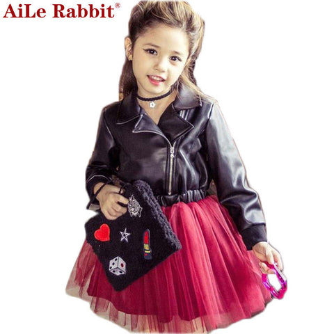 Girl Princess Leather Dress Party Dress Tutu Veil Red Sequined Dress Diamond-iuly.com