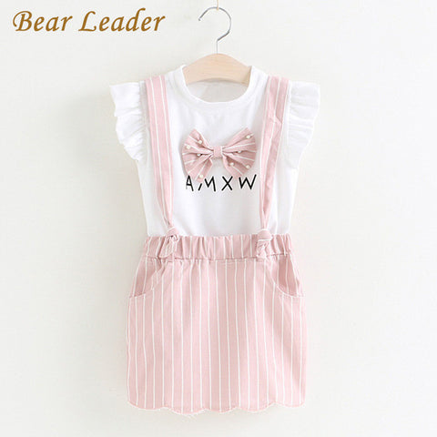 Girls Sets Children Clothing Bow Knot Sets Kids Clothes Pullover White Shirt+Skirt-iuly.com