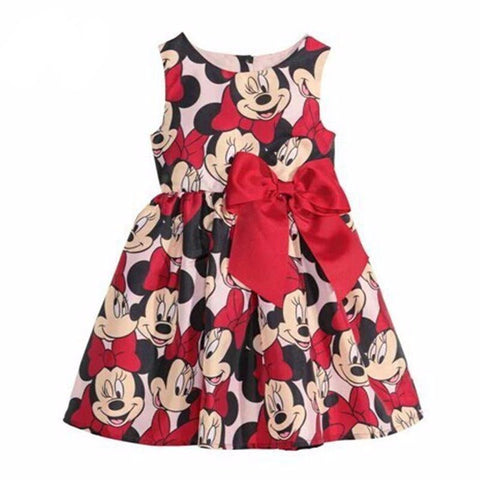 Wasailong Summer Dress Minnie Mouse Dress Girls Clothes Printing Dot Sleeveless-iuly.com