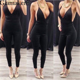 Elegant Evening Party Suede Women Jumpsuit Sexy Deep V Neck Backless Jumpsuit-iuly.com
