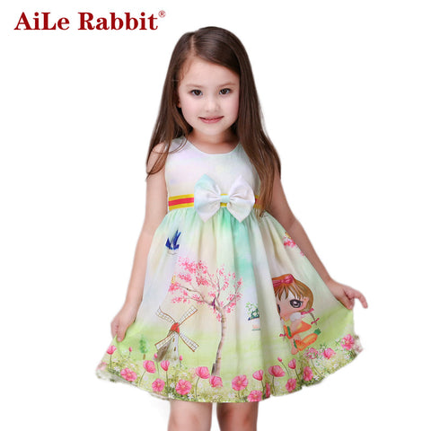 Girl Dress Kids Print Dresses Tree Windmill Bow For Kids Clothing Children Party-iuly.com
