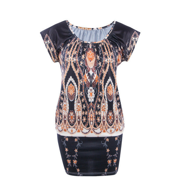 Eiffter Summer Women Dress Casual Ladies O-Neck Short Sleeve Print Sexy Mini-iuly.com