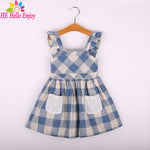 Enjoy Girls Clothes Summer Girls Plaid Dress Blue Kids Dress 3-8Year Tunic-iuly.com