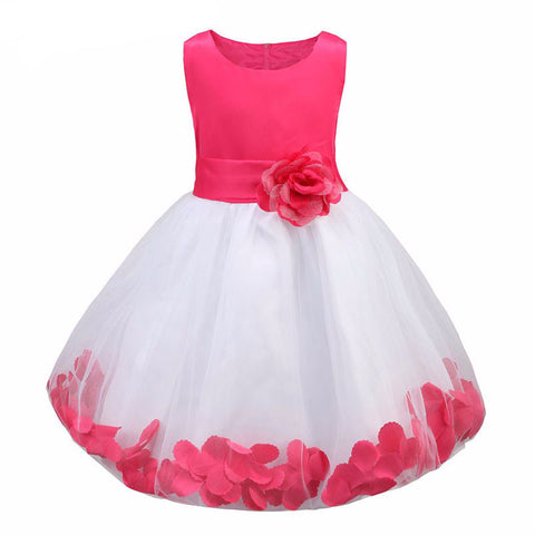 Kids Infant Girl Flower Petals Dress Children Bridesmaid Toddler Elegant Dress-iuly.com