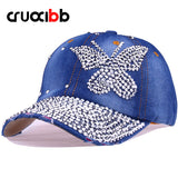 Crystal Butterfly Denim Baseball Cap Women Hat Rhinestone Snapback Caps-iuly.com