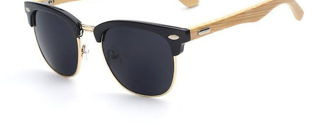 Half Metal Bamboo Sunglasses Men Women Glasses Mirror Sun Glasses Gafas De-iuly.com