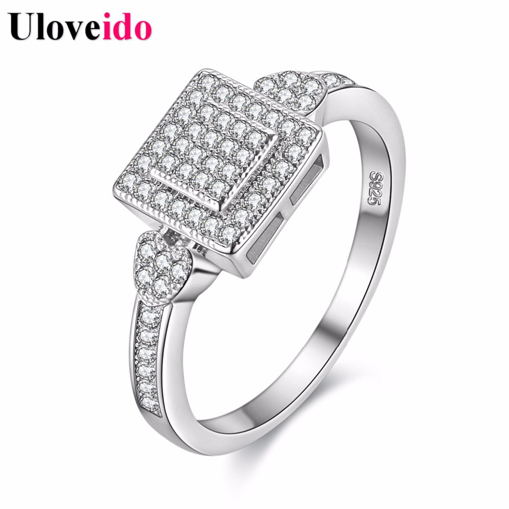 Cubic Zirconia Square Silver Color Crystal Rings Women Wedding Ring Female-iuly.com