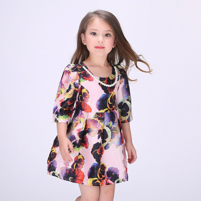 Fashion Floral Print Princess Dress Half Of Sleeve Round Neck Baby Girls Clothes-iuly.com