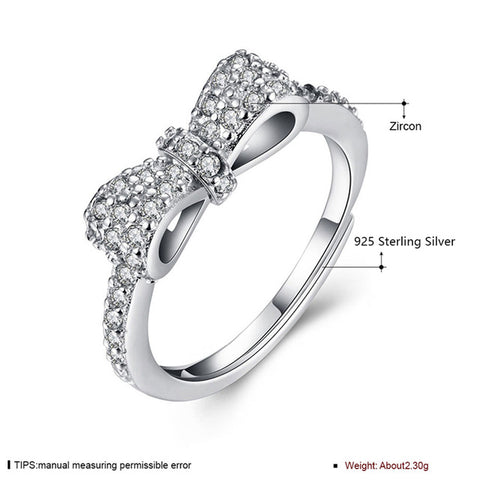 925 Sterling Silver Jewelry Bow Rings Women Zircon Engagement Ring Female-iuly.com