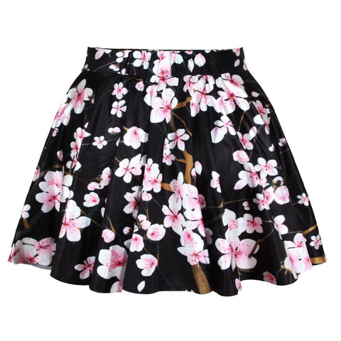 Black Cherry Pattern Summer Style Easiness Casual Women Pleated Skirts-iuly.com