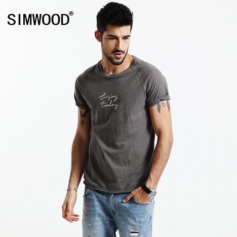 Summer T Shirt Men Letter Raw Edge Colored Cotton Tops Men Td017054-iuly.com