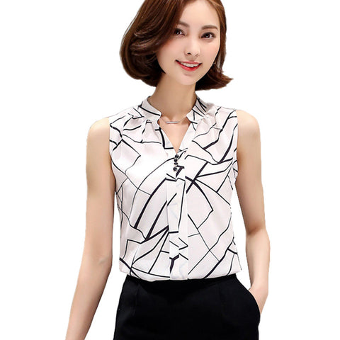 Blusas Clothing Summer Womens Sleeveless White Chiffon Blouse Shirt La-iuly.com