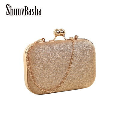 Woman Evening Bag Gold Glittered Clutch Bags Wallet Wedding Handbags Party-iuly.com