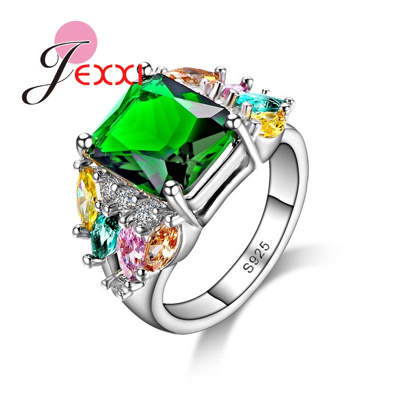 925 Sterling Silver Candy Color Cubic Zirconia Stone Ring Women Female-iuly.com