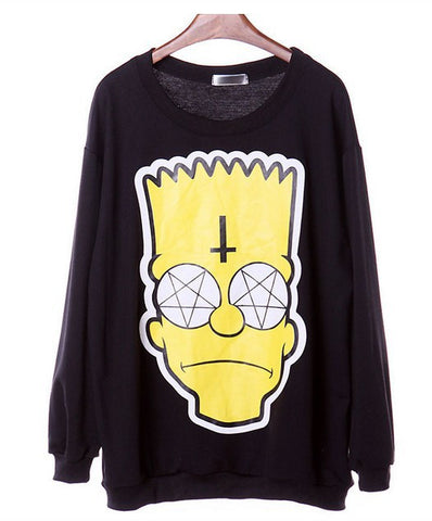 H360 Style Sweatshirts Cartoon Simpson Head Print Hoodies Tops B-iuly.com