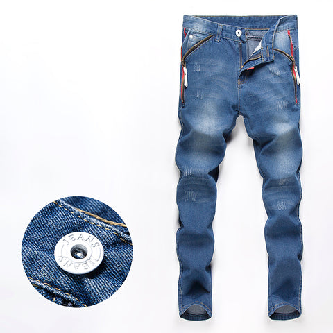 Men Jeans Pants Slim Fit Straight Male Trousers Zipper Style Drop 28-3-iuly.com