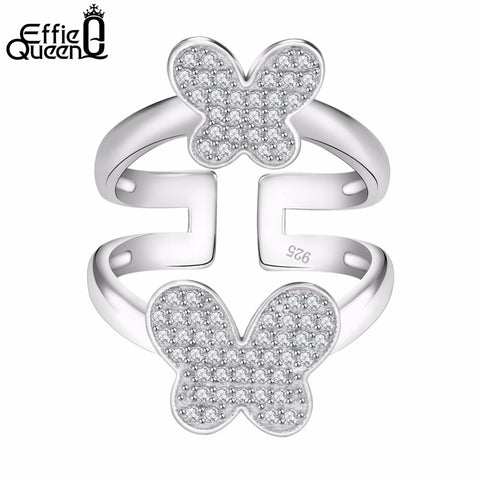 Double Butterflies Female Ring Party Cubic Zircon Paved Women Wedding Ring-iuly.com