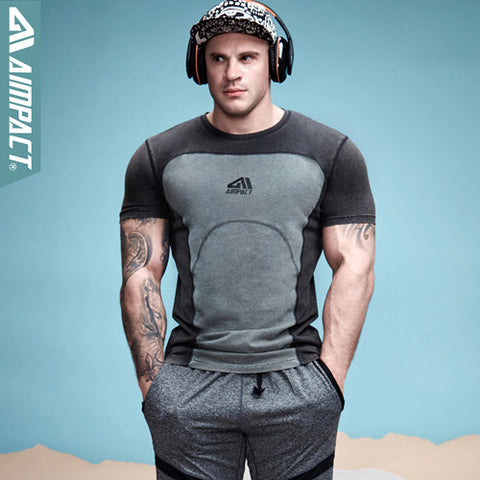 Contrast Color Patchwork Men'S T-Shirt Cotton Bodybuilding T Shirt Men Crossfit-iuly.com