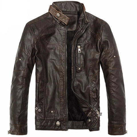Men Motorcycle Leather Jackets Fashion Men'S Autumn Winter Fleece Leather Jacket-iuly.com