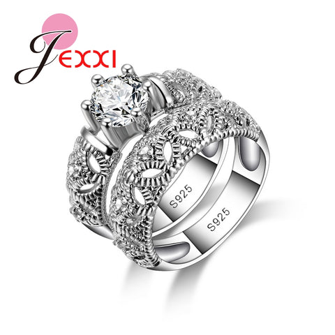 925 Sterling Silver Rings Women Anniversary Love Ring White Gold Hollow-iuly.com