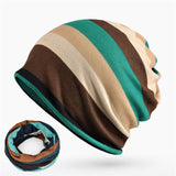 Double Layers Cotton Striped Hip Hop Skullies Winter Warm Hats Scarves-iuly.com