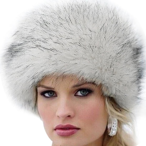 Winter Women Faux Fur Cap Fluffy Fox Fur Hats Headgear Russian Outwear-iuly.com