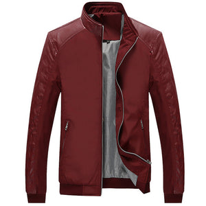 5Xl Spring Men'S Pu Patchwork Jackets Casual Men'S Thin Jackets Solid Slim Male-iuly.com