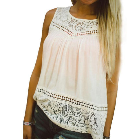 Casual Women Summer Lace Splice Vest Top Sleeveless Plus Size Women Bl-iuly.com
