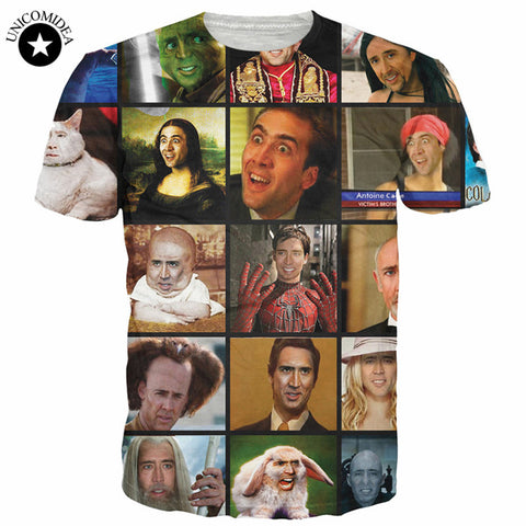 Funny T Shirts Nicolas Cage Rage Summer Men 3D T Shirt Graphics Short Sleeve-iuly.com