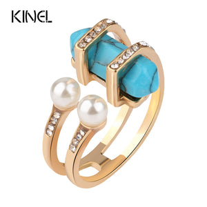 Bohemian Gold Color Rings Women Vintage Double Simulated Pearls Female-iuly.com
