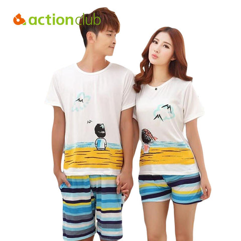 Pajamas Set Women Summer Lovers Sleepwear Cotton Cartoon Pijamas Men S-iuly.com