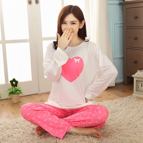 Womens Pajamas Sets Promotion Casual Long Sleeve O-Neck Lady Cotton Pa-iuly.com