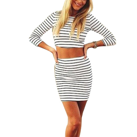 2 Pieces Set Women Short Mini Skirt Celeb Bodycon Striped Bandage Skir-iuly.com