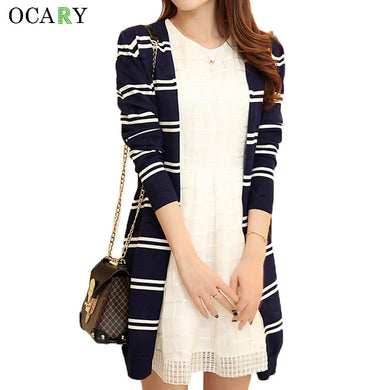 Spring Summer Women Sweaters Striped Long Cardigan Knitted Cardigans C-iuly.com